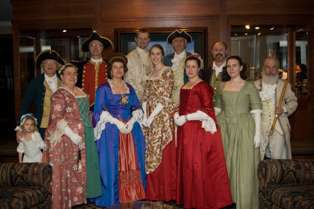 Members of the Williamsburg Heritage Dance Ensemble pose after a performance.  This group demonstrates colonial and historic English country dancing.